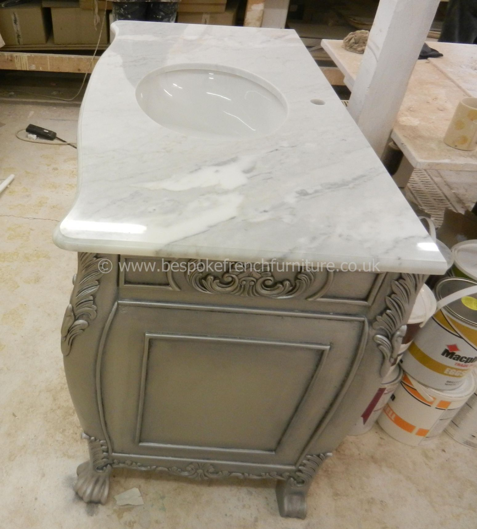 Bespoke Double Size Sink Vanity Unit With Solid Marble Top